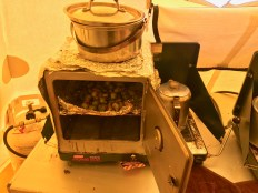 Roasted brussel sprouts in the stove-top oven.