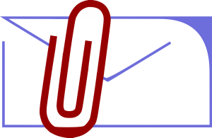 envelope and paper clip illustrating email file attachments.