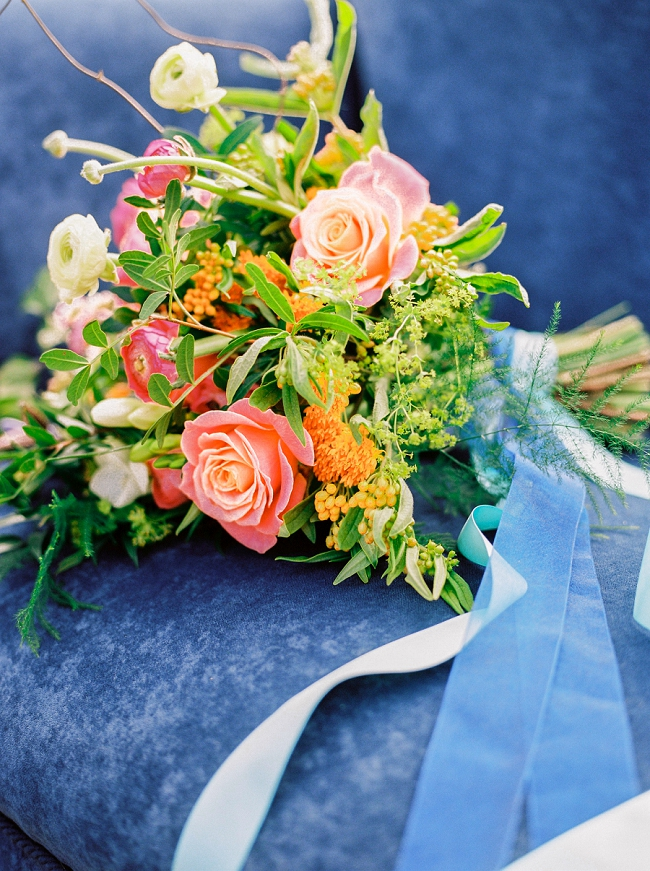 bright and colourful wedding flowers