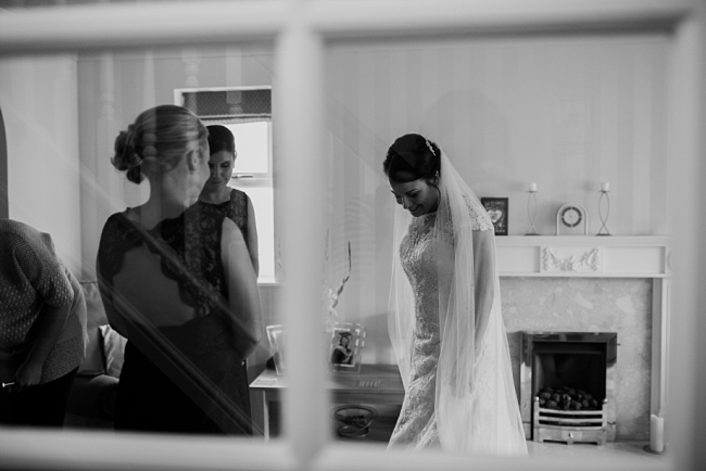 bride through a window