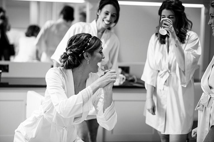 bride dancing in robe