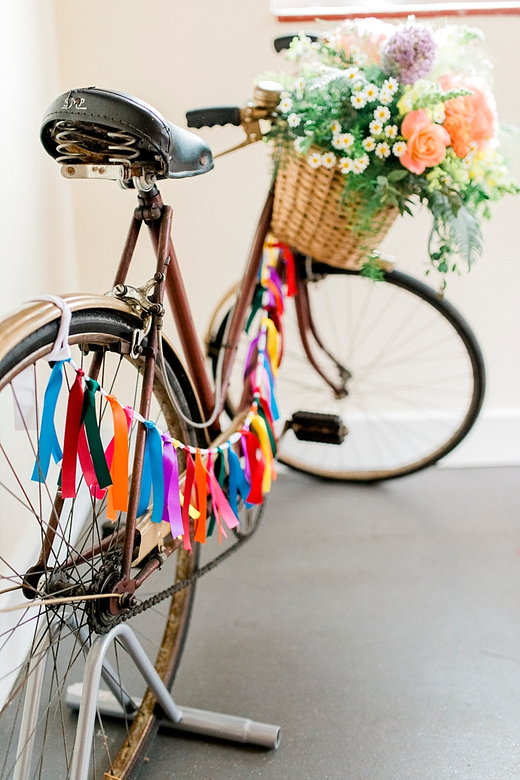 vintage bike with bright bunting