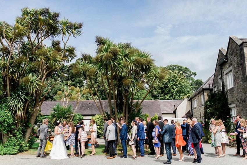 mingling at wedding