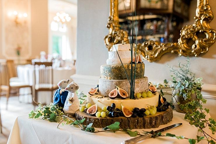 cheese wedding cake at merewood