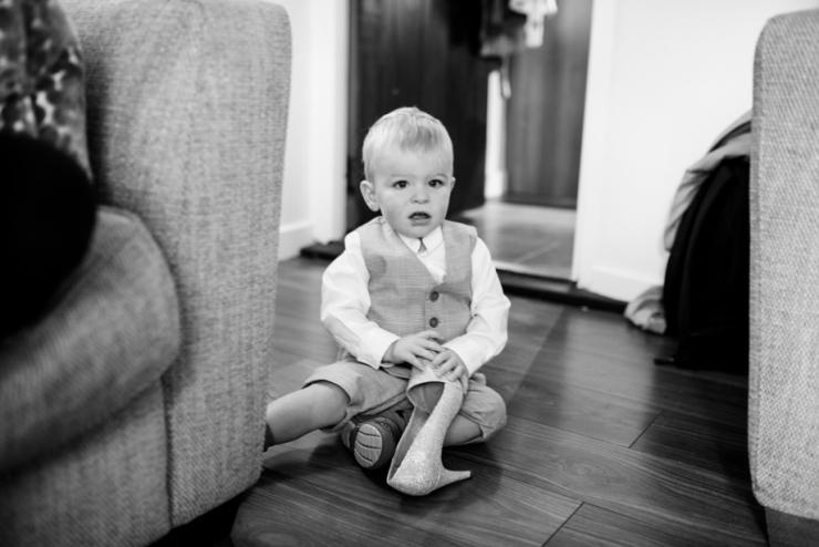 little boy in wedding suit