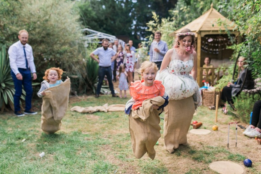 sack races at garden wedding