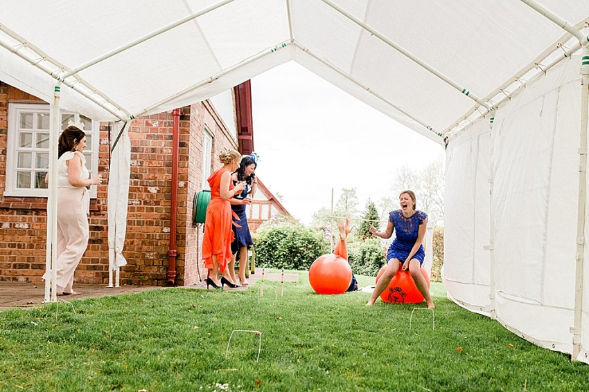 space hopper race at Eccleston Village hall wedding