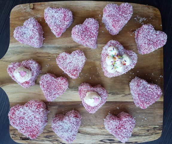 Strawberry and Coconut Sponge Hearts