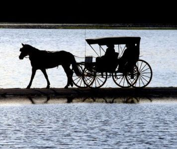 A horse-drawn carriage carries Scott and Kim Porzky along a road in the town of Lebanon, Wis., Sunday, May 3, 2009. (AP Photo/Watertown Daily Times/John Hart) ** NO SALES **