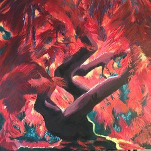 L'arbre rouge, acrylique sur toile