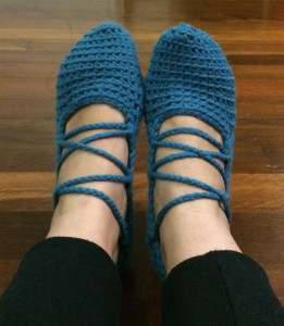 Blue crochet slippers