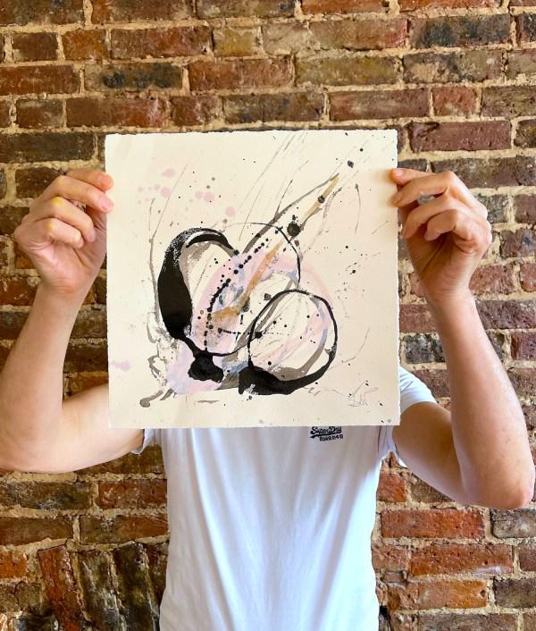 Pragma study iii, original mixed-media abstract artwork by Emma de Polnay on Emma's signature Banks Cream watercolour paper