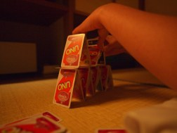 Card pyramid competition. Cassie won.