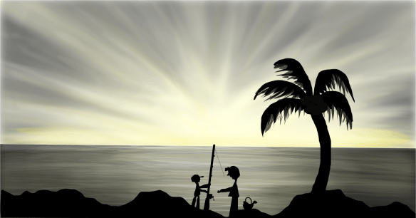 2 silhouetted children fishing