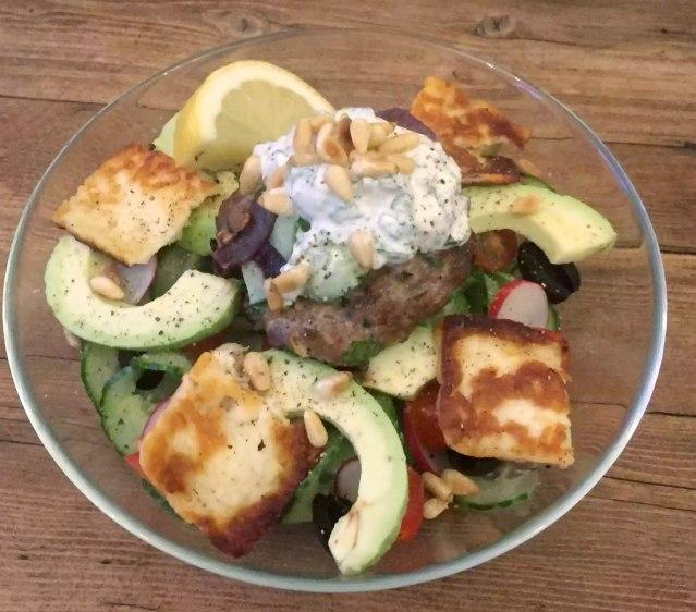 Moroccan Spiced Lamb Burger Spiralised Cucumber Tzatziki Halloumi