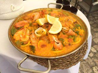 Madrid Sunshine Plaza Mayor Walking Birthday Seafood Paella Prawns El Soportal Lunch