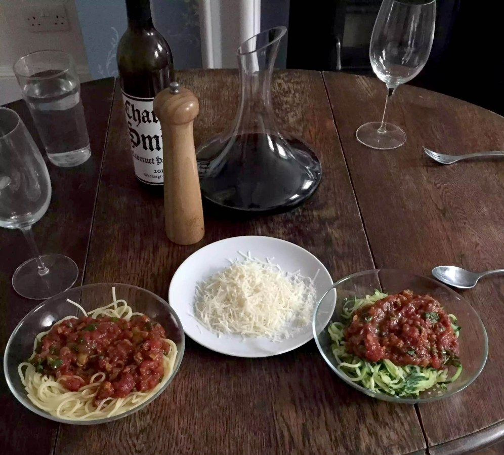 Dan Cooking London Pasta Puttanesca Spiralised Courgette Cabernet Sauvignon Date Night