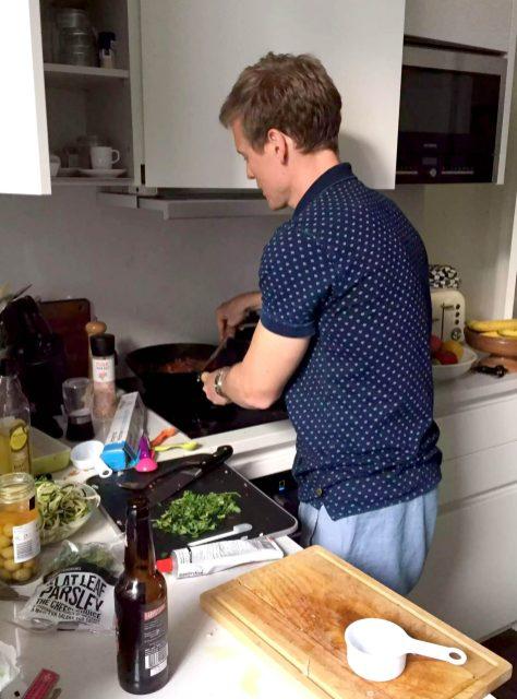 Dan Cooking London Pasta Puttanesca Spiralised Courgette Cabernet Sauvignon Date Night