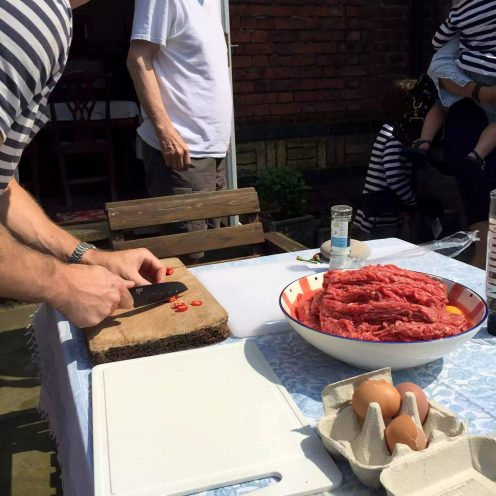 BBQ St Albans Sunshine Garden Outdoors Burgers Asparagus Peppers Lamb Sausages Salad Cheese Strawberries Mango Wine