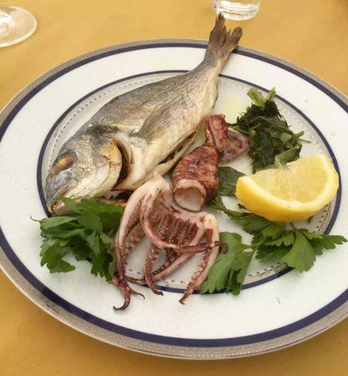 Puglia Italy Porto Cesaro il rifugio di naufrago Lunch Sea Bass Squid
