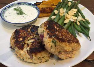 Salmon Dill Celeriac Fishcake Lemon Mayo paleo SCD Gluten-Free Grain-Free Recipe