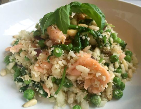 Smoked Salmon Pea Spinach Summer Vegetable Cauliflower Rice Risotto Garlic SCD Paleo Clean Eating Pine Nuts Foodie Healthy