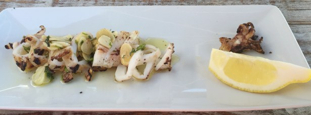 Marias Restaurant - Praia de Garrao - Algarve - Portugal - Grilled squid Garlic coriander Olive Oil Lemon