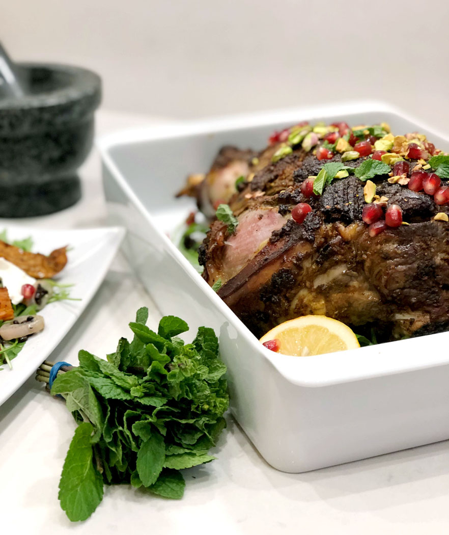 Slow-Roasted, Indian Spiced Leg of Lamb with Pomegranate, Pistachios & Mint