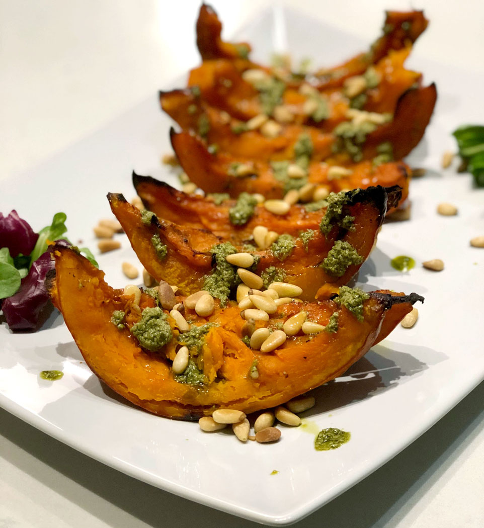Roasted Acorn Squash with Pesto & Pine Nuts