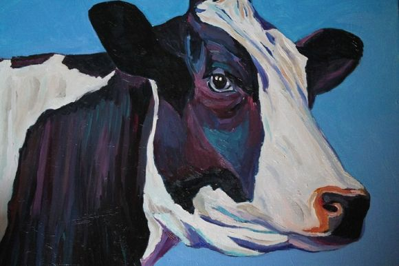Queen Cow and black and white cow painting in oils