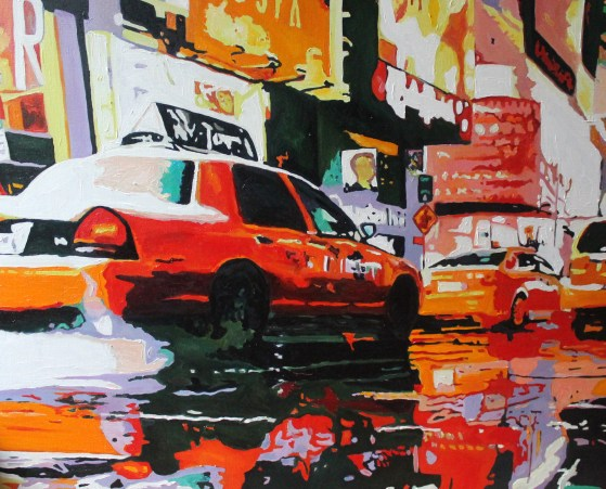 Contemporary oil painting of New York Traffic