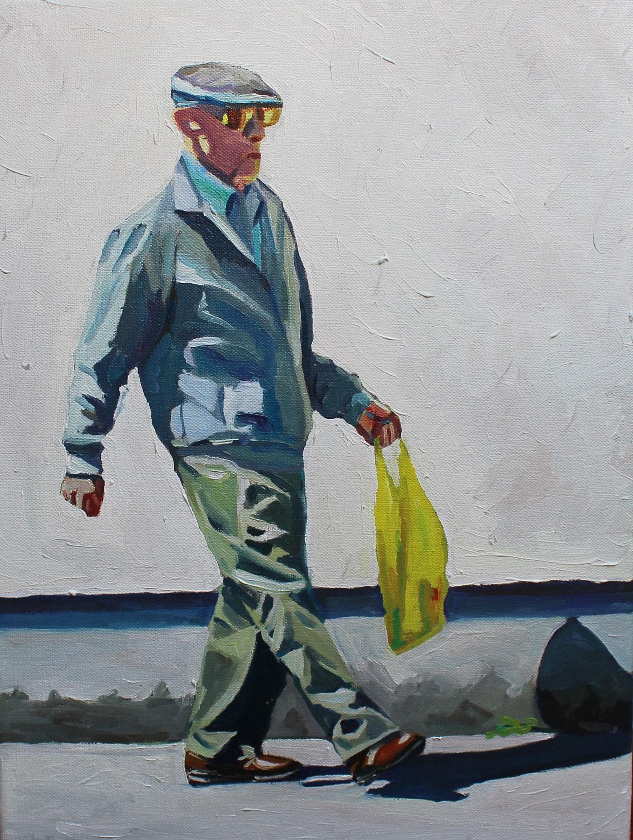 Oil painting of elderly Swansea man