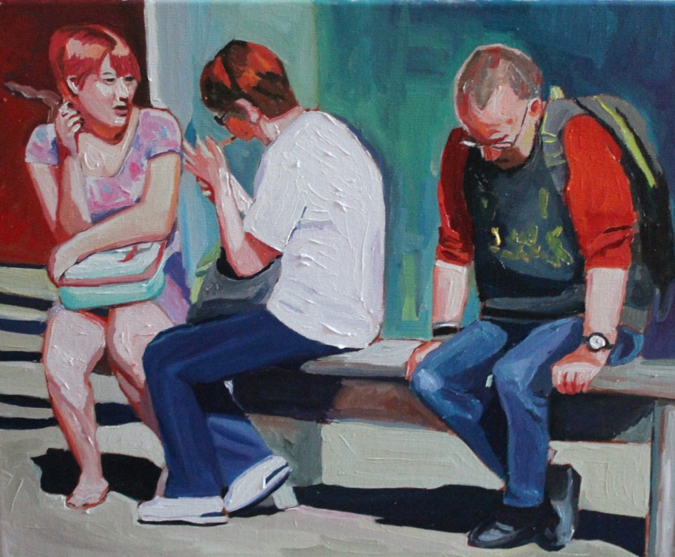 Oil painting of people in Swansea town centre