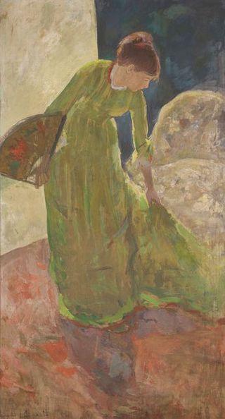 Mary_Cassatt_-_Woman_Standing,_Holding_a_Fan,_1878–79