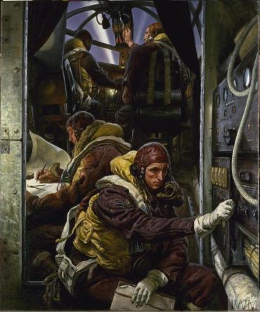 Take Off (Art.IWM ART LD 3834) image: the interior of a Stirling Mk 3 bomber with the four man crew readying for take-off. Two pilots sit in the cockpit, the navigator busies himself with his maps and the wireless operator, bearing the insignia of a Flight Sergeant, turns a dial on the wireless unit. Copyright: © IWM. Original Source: http://www.iwm.org.uk/collections/item/object/15505