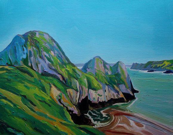 Three Cliffs at High Tide