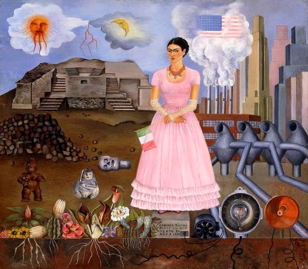 CH991362 Self Portrait on the Border between Mexico and the United States of America, 1932 (oil on tin) by Kahlo, Frida (1907-54); 31x35 cm; Private Collection; (add.info.: Self Portrait on the Border between Mexico and the United States of America; Autorretrato en la Frontera entre Mexico y los Estados Unidos. Frida Kahlo (1910-1954). Oil on tin. Signed and dated 1932. 31 x 35cm.); Photo © Christie's Images; Mexican, in copyright PLEASE NOTE: This image is protected by the artist's copyright which needs to be cleared by you. If you require assistance in clearing permission we will be pleased to help you.