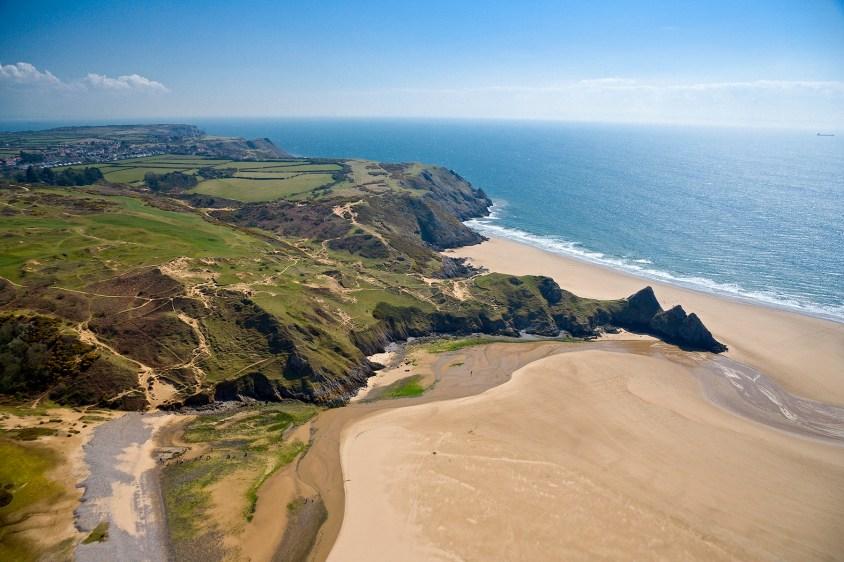 Three Cliffs Bay Aerial Gower Towns & Villages