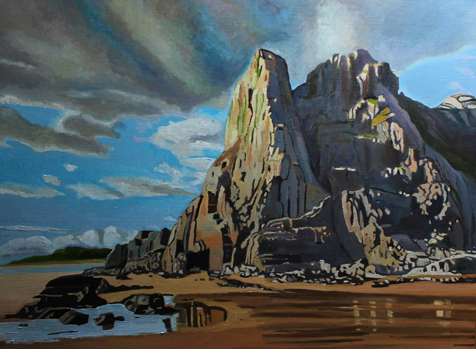 Painting of Great Tor, Gower, Gower Walk