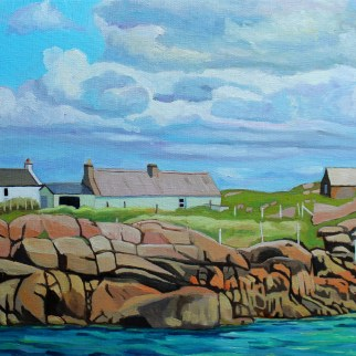 Donegal painting of houses on Eigher Island