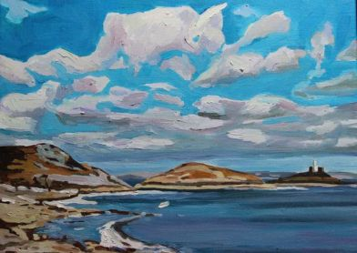 Oil painting of Mumbles Head, Swansea