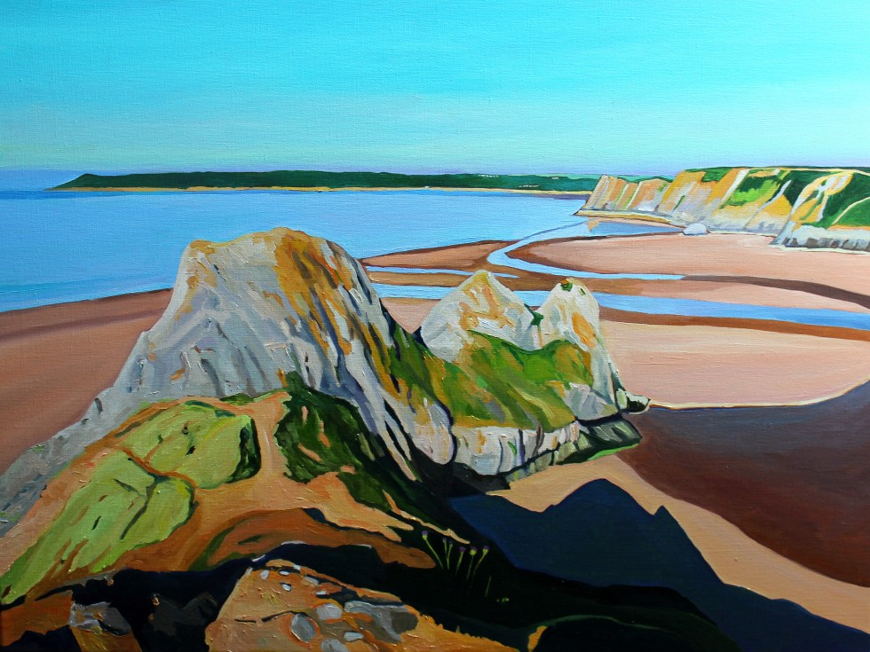 Painting of Gower, Three Cliffs Bay, Gower painting_EmmaCownie