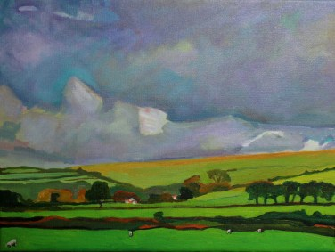 Old painting of clouds in West Wales