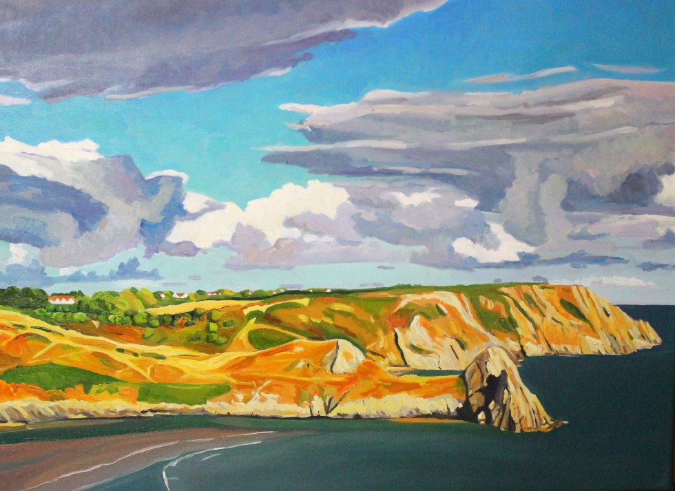 Painting of Three Cliffs Bay, Gower_EmmaCownie
