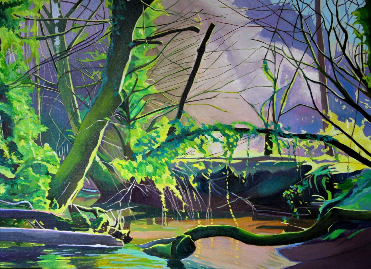 Painting of woodlands in spring