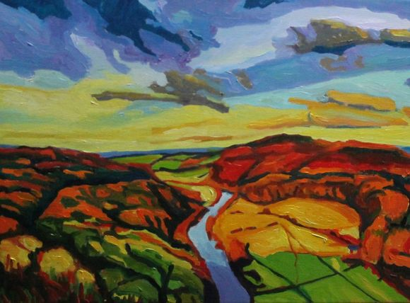 Oil painting of Symonds Yat in the autumn