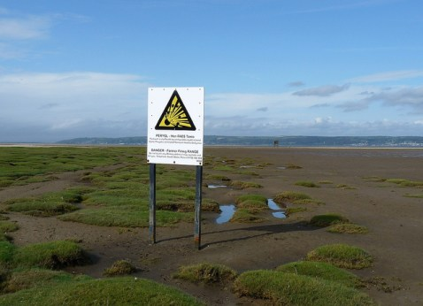 Warning sign on the marshes