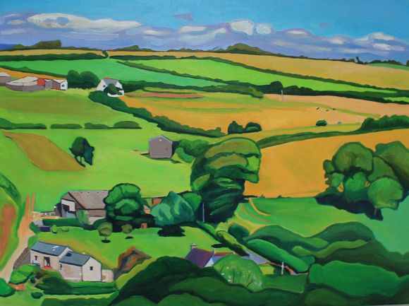Oil painting of Cheriton Gower by Emma Cownie