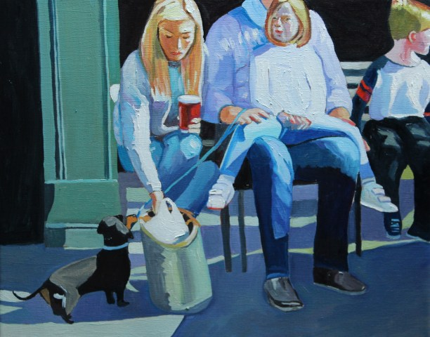 Painting of sausage dog and family