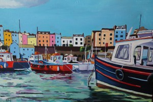 Painting of Boats in Tenby Harbour